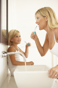 Brushing Teeth In Bathroom Together